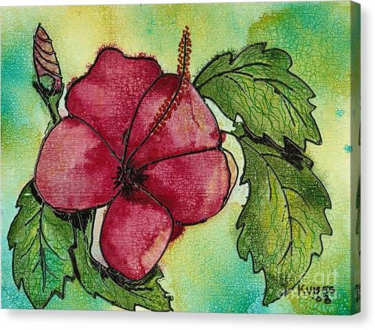 One Pink Hibiscus Canvas Print by Susan Kubes
