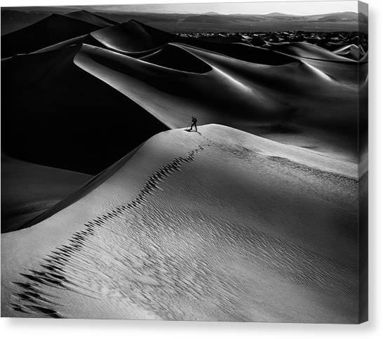 Death Valley Canvas Print - One Set Of Footprints by Simon Chenglu