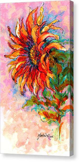 Pen Canvas Print - One Sunflower by Marion Rose