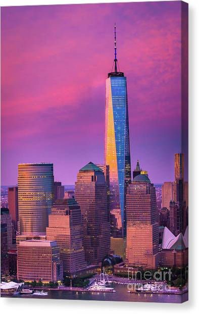 One Direction Canvas Print - One World Trade Center Sunset by Inge Johnsson