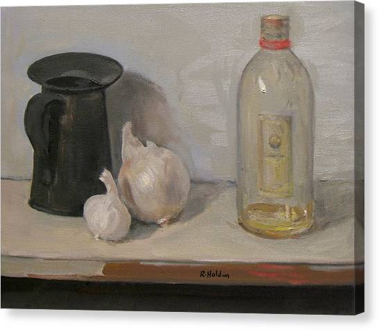 Onion And Garlic,tin Can, And Painting Medium Bottle Canvas Print
