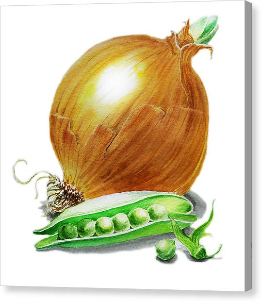 Vegetables Canvas Print - Onion And Peas by Irina Sztukowski