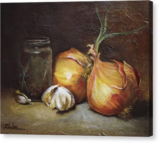 Onions And Garlic  Canvas Print by Alex Loza
