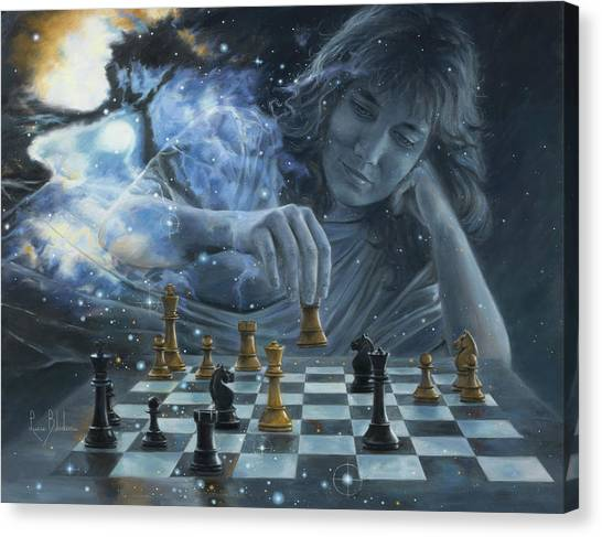 Knights Canvas Print - Only A Game by Lucie Bilodeau