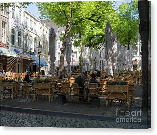 Limburg Canvas Print - Onze Lieve Vrouweplein In A Historic Square In Maastricht by Louise Heusinkveld