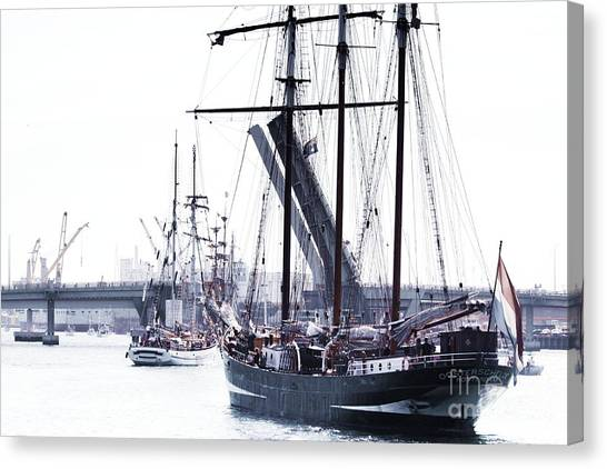 Canvas Print featuring the photograph Oosterschelde Leaving Port by Stephen Mitchell