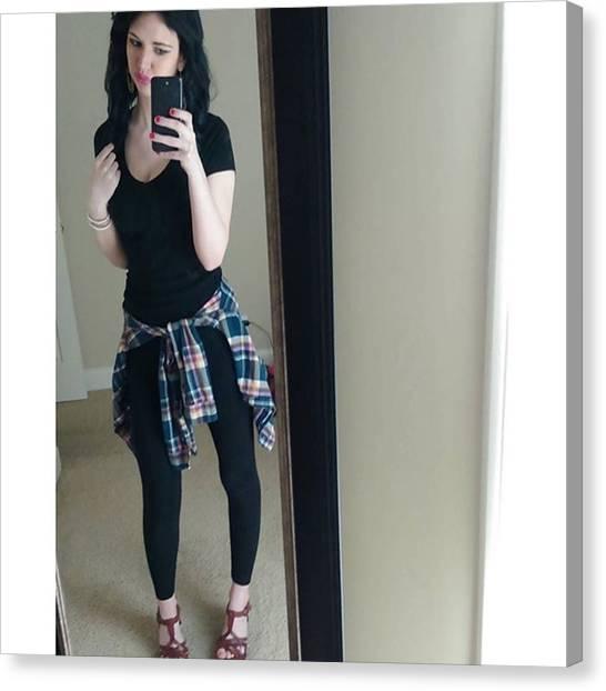 Flannel Canvas Print - #ootd #black #flannel #plaid #heels by Jordan Nicole