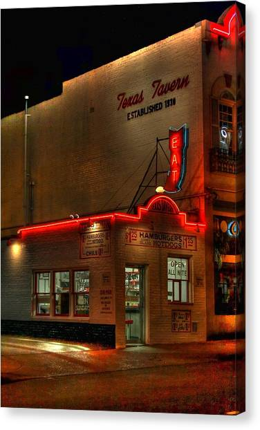 Open All Nite-texas Tavern Canvas Print
