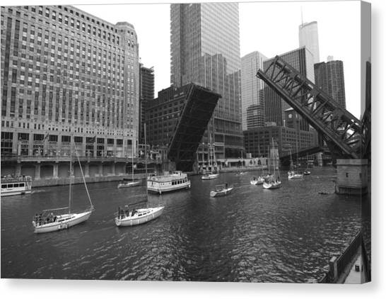 Open Bridges In Chicago Canvas Print