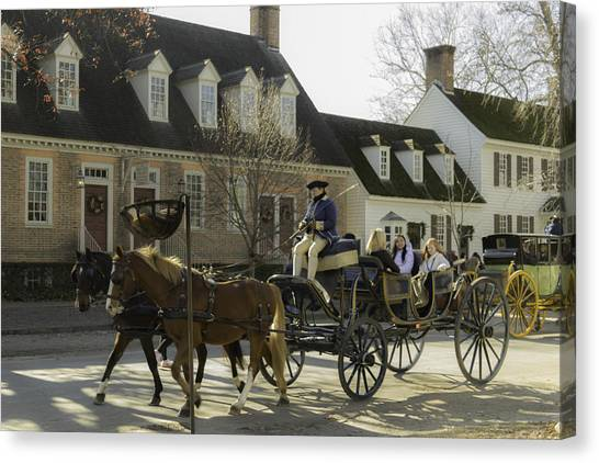 Royal Colony Canvas Print - Open Carriage Ride In Colonial Williamsburg Virginia by Teresa Mucha