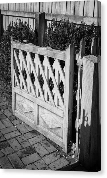 Open Garden Gate B W Canvas Print