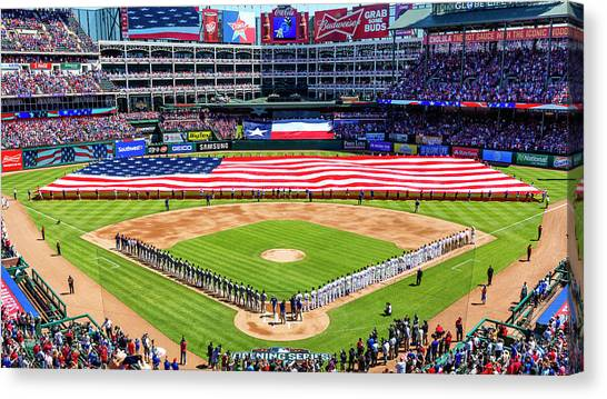 Hot Dogs Canvas Print - Opening Day At Globe Life Park by Stephen Stookey