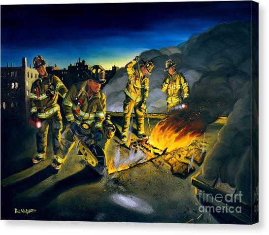 Firefighters Canvas Print - Opening Up by Paul Walsh