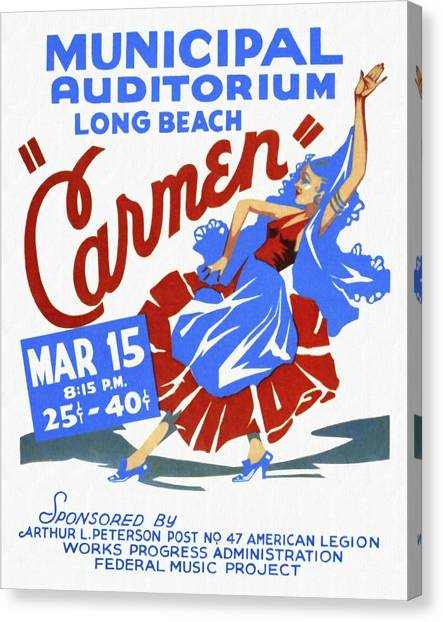 Opera Carmen In Long Beach - Vintage Poster Restored Canvas Print