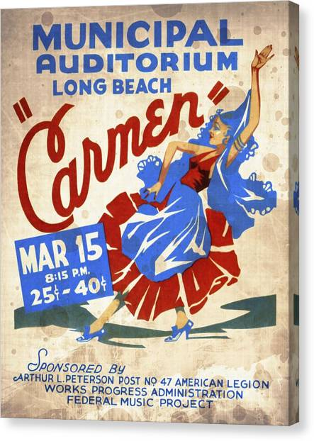 Opera Carmen In Long Beach - Vintage Poster Vintagelized Canvas Print