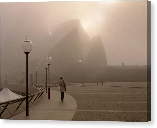 Opera House In The Fog Canvas Print by Barry Culling