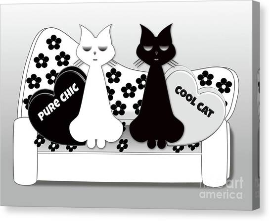 Opposites Attract - Black And White Cats On The Sofa Canvas Print