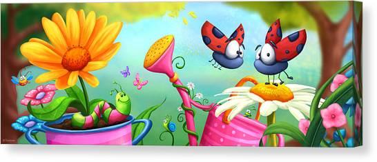 Grasshoppers Canvas Print - Optimistic Zoom by Tooshtoosh