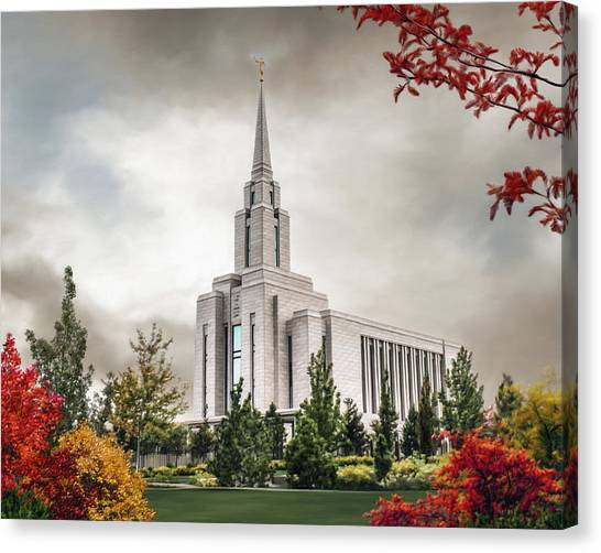 Oquirrh Mountain Temple Canvas Print by Brent Borup