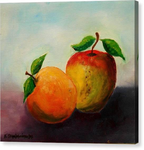 Apple And Orange Canvas Print