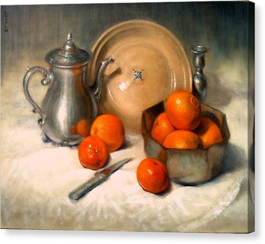 Orange And Gray Canvas Print by Donelli  DiMaria