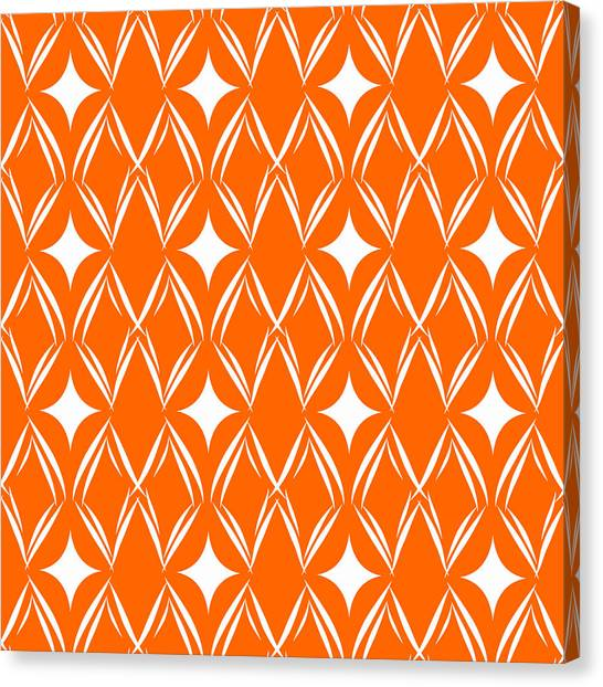 Diamond Canvas Print - Orange And White Diamonds by Linda Woods