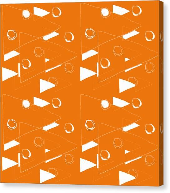 Designer Decor Canvas Print - Orange And White Triangles by Linda Woods