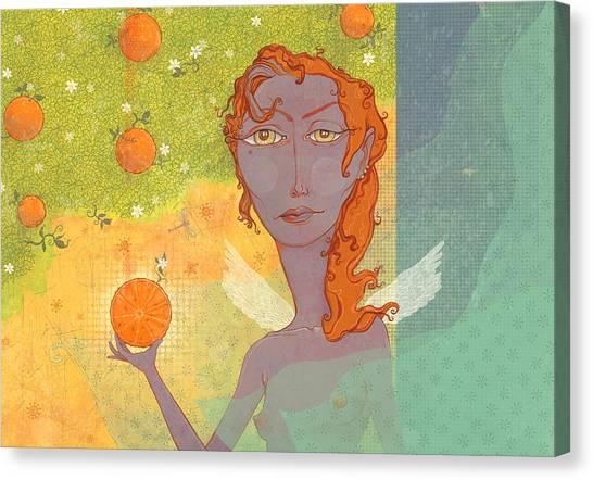 Angel Canvas Print - Orange Angel 1 by Dennis Wunsch