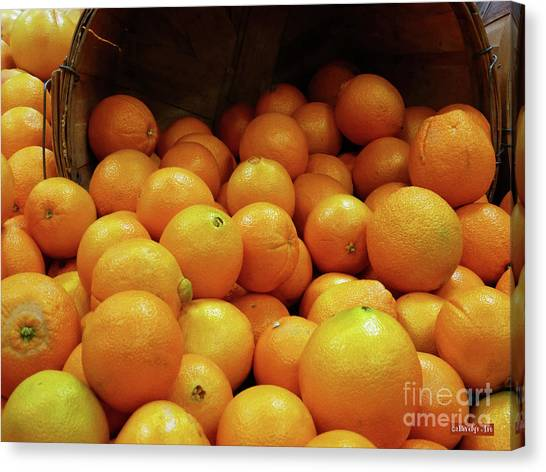 Produce Stands Canvas Print - Orange Basket by Methune Hively