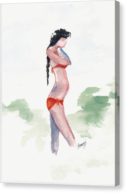 Bikini Canvas Print - Orange Bikini by Sam Sidders