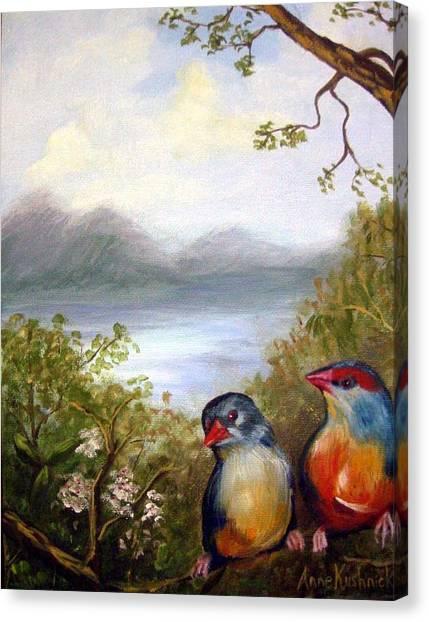Canvas Print - Orange Breasted Waxbills by Anne Kushnick