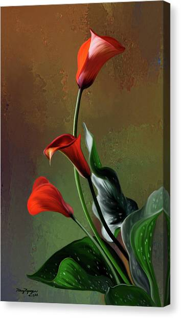 Orange Calla Lily Canvas Print by Thanh Thuy Nguyen