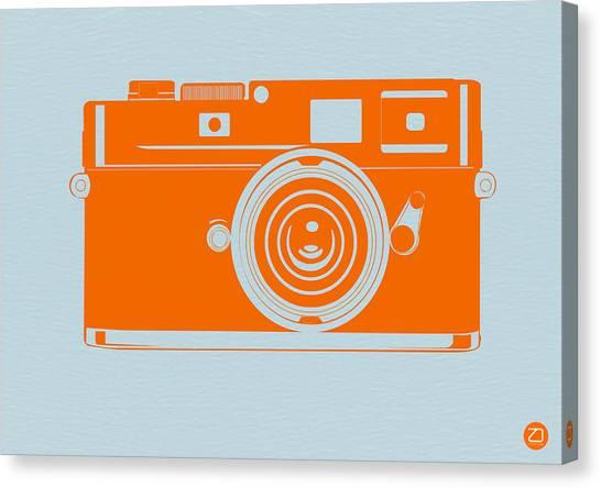 Vintage Camera Canvas Print - Orange Camera by Naxart Studio
