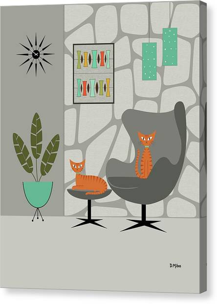 Orange Cat In Gray Stone Wall Canvas Print