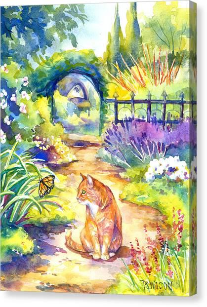 Orange Cat In The Garden Canvas Print by Peggy Wilson