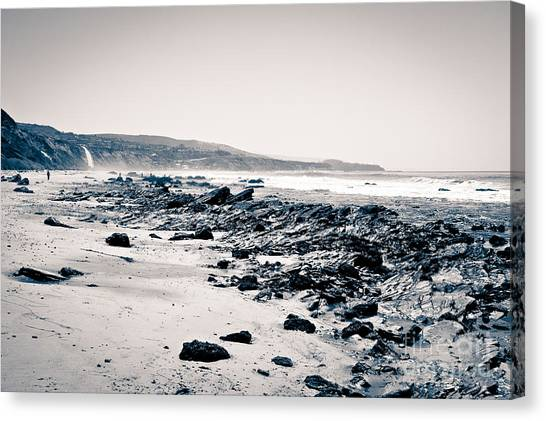 Beach Cliffs Canvas Print - Orange County California Black And White by Paul Velgos