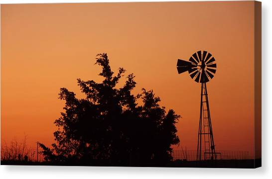 Orange Dawn With Windmill Canvas Print