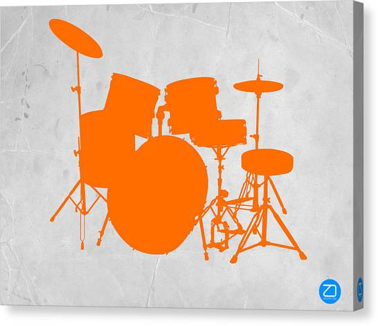 Drums Canvas Print - Orange Drum Set by Naxart Studio