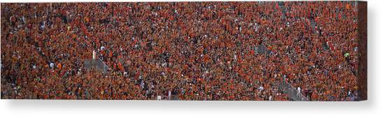 Virginia Polytechnic Institute And State University Virginia Tech Canvas Print - Orange Effect Celebration Game One 2015 by Betsy Knapp