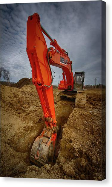 Backhoes Canvas Print - Orange Excavator by Mike Burgquist