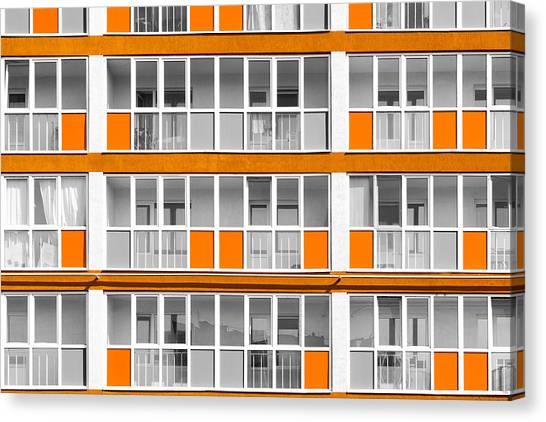Orange Exterior Decoration Details Of Modern Flats Canvas Print