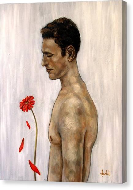 Orange Gerbera On White Canvas Print by Ixchel Amor