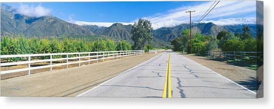 Orange Tree Canvas Print - Orange Groves & Snow On Topa Topa by Panoramic Images