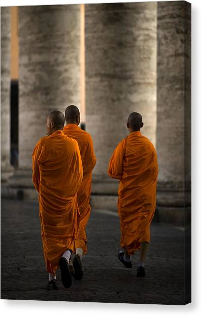 Monks Canvas Print - Orange Guests by Fulvio Pellegrini