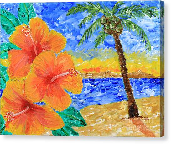 Orange Hibiscus Coconut Tree Sunrise Tropical Beach Painting Canvas Print
