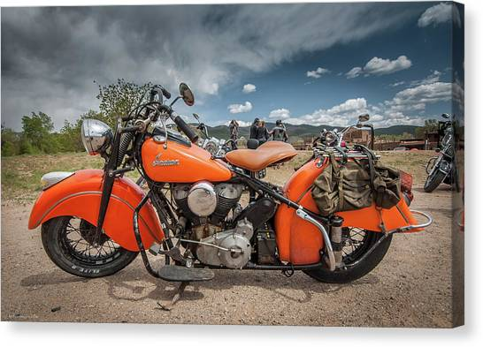 Orange Indian Motorcycle Canvas Print