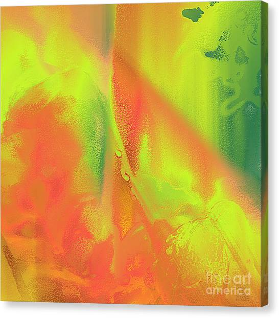 Canvas Print featuring the digital art Orange Lime Green Abstract by Dee Flouton