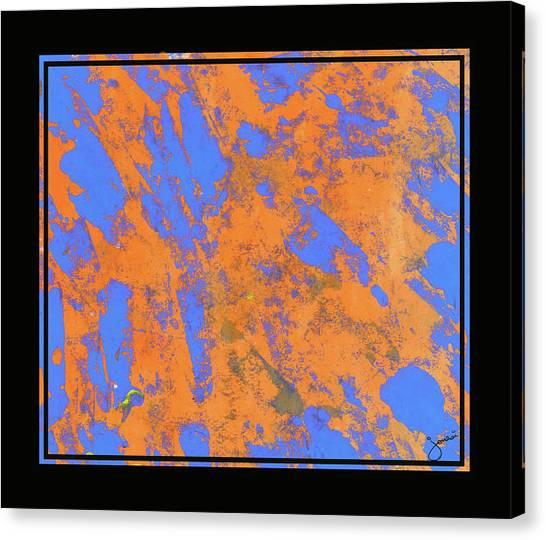 Orange On Blue Canvas Print by JOnezi