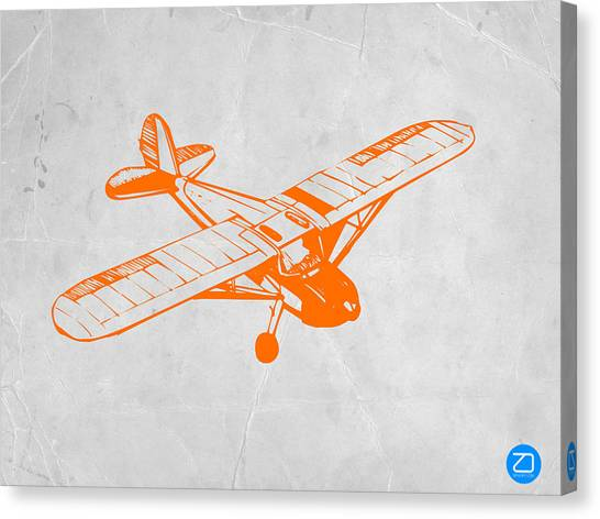 Airplanes Canvas Print - Orange Plane 2 by Naxart Studio