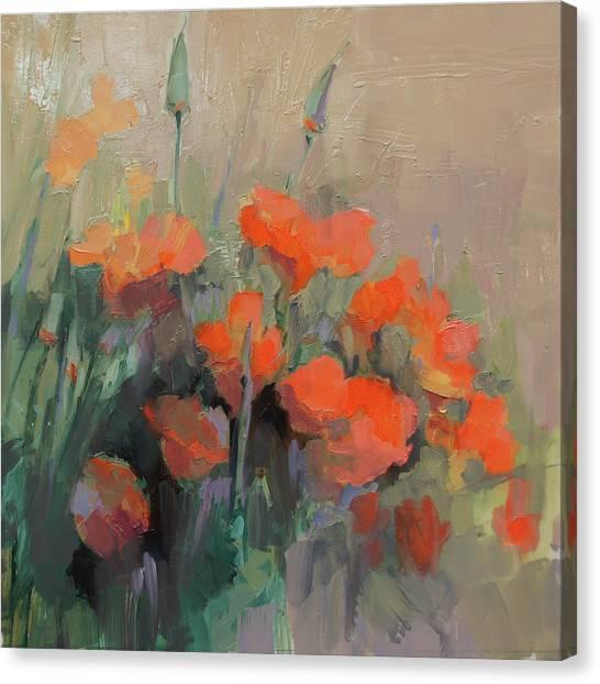 Orange Poppies Canvas Print by Cathy Locke